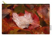 Close-up Of Raindrops On Maple Leaves Carry-all Pouch
