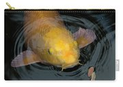 Close Up Of Single Large Yellow Koi Fish With Whiskers Carry-all Pouch