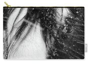 Close Up Portrait Of A Horse In Falling Snow Carry-all Pouch