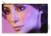 Closeup Beauty Portrait Of Woman Face In Colored Purple Light Carry-all Pouch