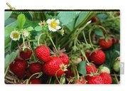 Closeup Of Fresh Organic Strawberries Growing On The Vine Carry-all Pouch