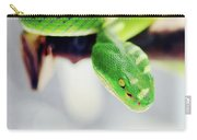 Closeup Of Poisonous Green Snake With Yellow Eyes - Vogels Pit Viper  Carry-all Pouch