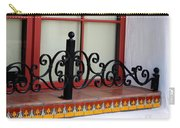 Closeup Of Window Decorated With Terracotta Tiles And Wrought Iron Photograph By Colleen Carry-all Pouch