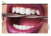 Closeup Of Woman's Mouth Biting On Barbed Wire Carry-all Pouch
