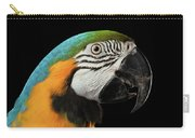 Closeup Portrait Of A Blue And Yellow Macaw Parrot Face Isolated On Black Background Carry-all Pouch