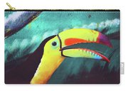 Closeup Portrait Of A Colorful And Exotic Toucan Bird Against Blue Background Nicaragua Carry-all Pouch