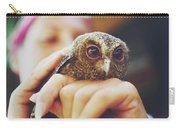 Closeup Portrait Of A Girl Holding And Tending A Small Baby Owl In Her Hands Carry-all Pouch