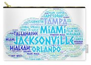 Cloud Illustrated With Cities Of Florida State Carry-all Pouch