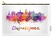 Cluj-napoca Skyline In Watercolor Splatter Carry-all Pouch