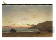 Coastal Scene With A Man And A Dog Carry-all Pouch