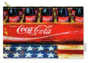 Coca Cola And Wooden American Flag Carry-all Pouch