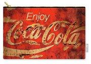Coca Cola Square Aged Texture Black Border Carry-all Pouch