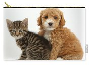 Cockapoo Puppy And Tabby Kitten Carry-all Pouch