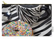 Coffee And Donut On Striped Plate Carry-all Pouch