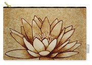 Coffee Painting Water Lilly Blooming Carry-all Pouch by Georgeta  Blanaru