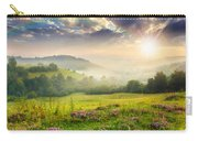 Cold Fog In Mountains On Forest At Sunset Carry-all Pouch