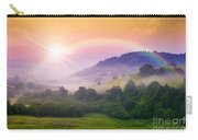 Cold Fog On Hot Sunrise In Mountains Carry-all Pouch