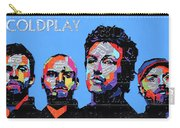 Coldplay Band Portrait Recycled License Plates Art On Blue Wood Carry-all Pouch