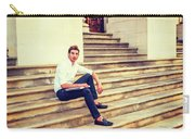 College Student Sitting On Stairs, Relaxing Outside Carry-all Pouch