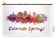 Colorado Springs V2 Skyline In Watercolor Carry-all Pouch