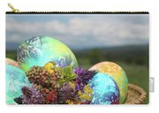 Colored Easter Eggs In Basket And Spring Flowers Carry-all Pouch