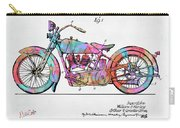 Colorful 1928 Harley Motorcycle Patent Artwork Carry-all Pouch
