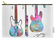 Colorful 1953 Fender Bass Guitar Patent Artwork Carry-all Pouch by Nikki Marie Smith