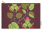 Colorful Botanical Hand Drawn Strawberry Bush Isolated On Vinous Carry-all Pouch