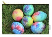 Colorful Easter Eggs On Green Grass Carry-all Pouch