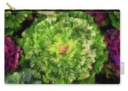 Colorful Green, White And Purple Flowers Painting Carry-all Pouch