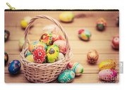 Colorful Hand Painted Easter Eggs In Basket And On Wood Carry-all Pouch