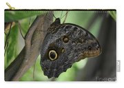 Colorful Markings On A Blue Morpho Butterfly On A Tree Trunk Carry-all Pouch