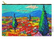Colorful Poppies Field Abstract Landscape Impressionist Palette Knife Painting By Ana Maria Edulescu Carry-all Pouch
