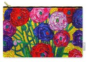 Colorful Ranunculus Flowers In Polka Dots Vase Palette Knife Oil Painting By Ana Maria Edulescu Carry-all Pouch