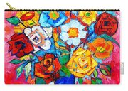 Colorful Roses And Camellias - Abstract Bouquet Of Flowers Carry-all Pouch