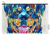 Colorful Rottie Art - Rottweiler By Sharon Cummings Carry-all Pouch