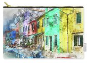 Colorful Street In Burano Near Venice Italy Carry-all Pouch