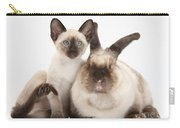 Colorpoint Rabbit And Siamese Kitten Carry-all Pouch
