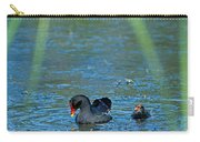 Common Moorhen And Her Baby Carry-all Pouch