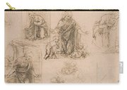 Compositional Sketches For The Virgin Adoring The Christ Child Carry-all Pouch