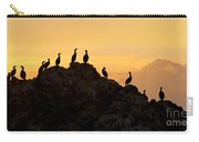 Cormorants On A Rock With Golden Sunset Sky Carry-all Pouch