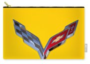 Corvette Emblem On Yellow Carry-all Pouch