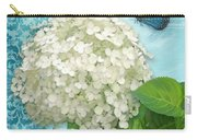 Cottage Garden White Hydrangea With Blue Butterfly Carry-all Pouch
