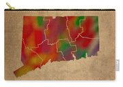 Counties Of Connecticut Colorful Vibrant Watercolor State Map On Old Canvas Carry-all Pouch