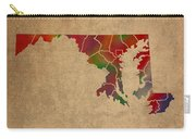 Counties Of Maryland Colorful Vibrant Watercolor State Map On Old Canvas Carry-all Pouch