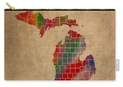 Counties Of Michigan Colorful Vibrant Watercolor State Map On Old Canvas Carry-all Pouch