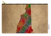 Counties Of New Hampshire Colorful Vibrant Watercolor State Map On Old Canvas Carry-all Pouch