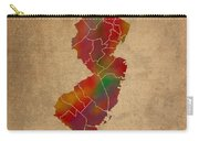 Counties Of New Jersey Colorful Vibrant Watercolor State Map On Old Canvas Carry-all Pouch