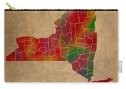 Counties Of New York Colorful Vibrant Watercolor State Map On Old Canvas Carry-all Pouch