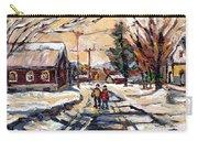 Purchase Best Original Quebec Winter Scene Paintings Achetez  Paysage De Quebec Cspandau Art Carry-all Pouch